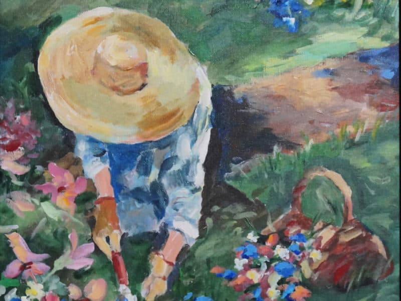 Patty Dale painting of gardener in flowers